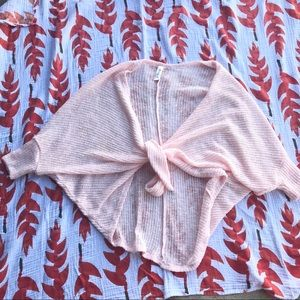 Mahina Baby Pink Tie Front Sweater